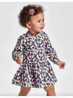 Mayoral Mayoral, ECOFRIENDS Mauve Floral Fleece Baby Dress