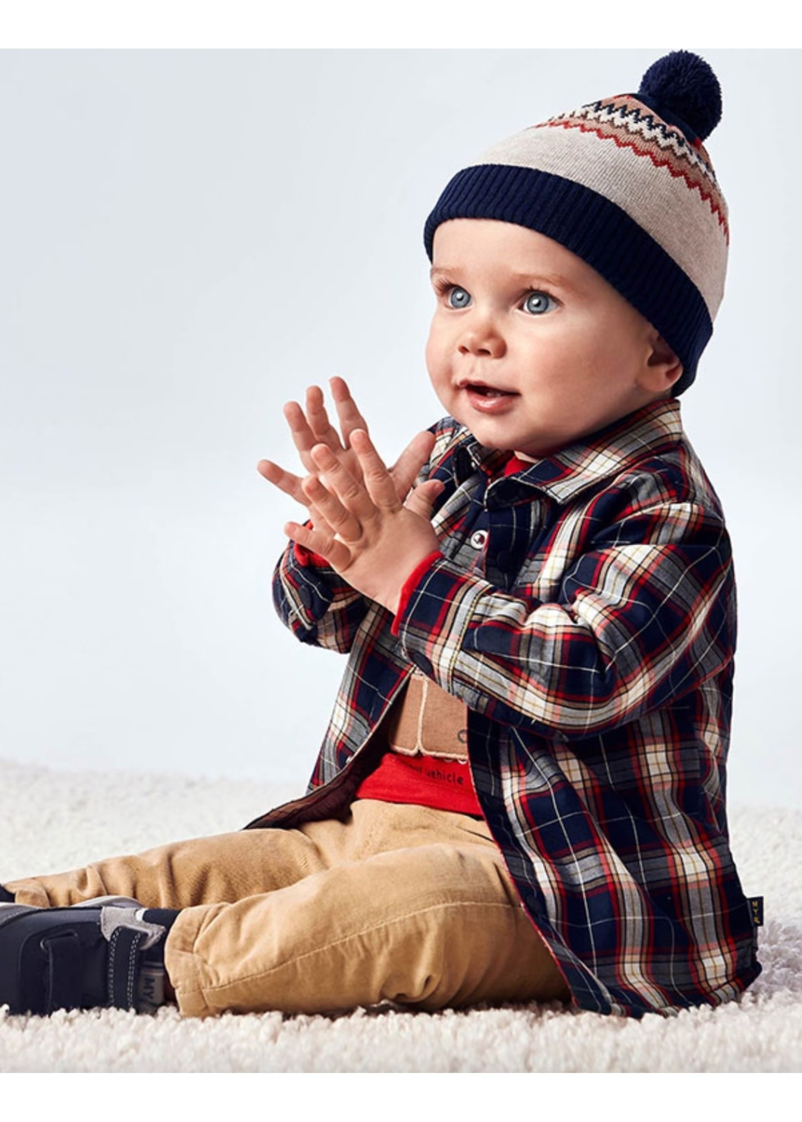Mayoral Mayoral, Plaid Baby Boy Overshirt in Blue