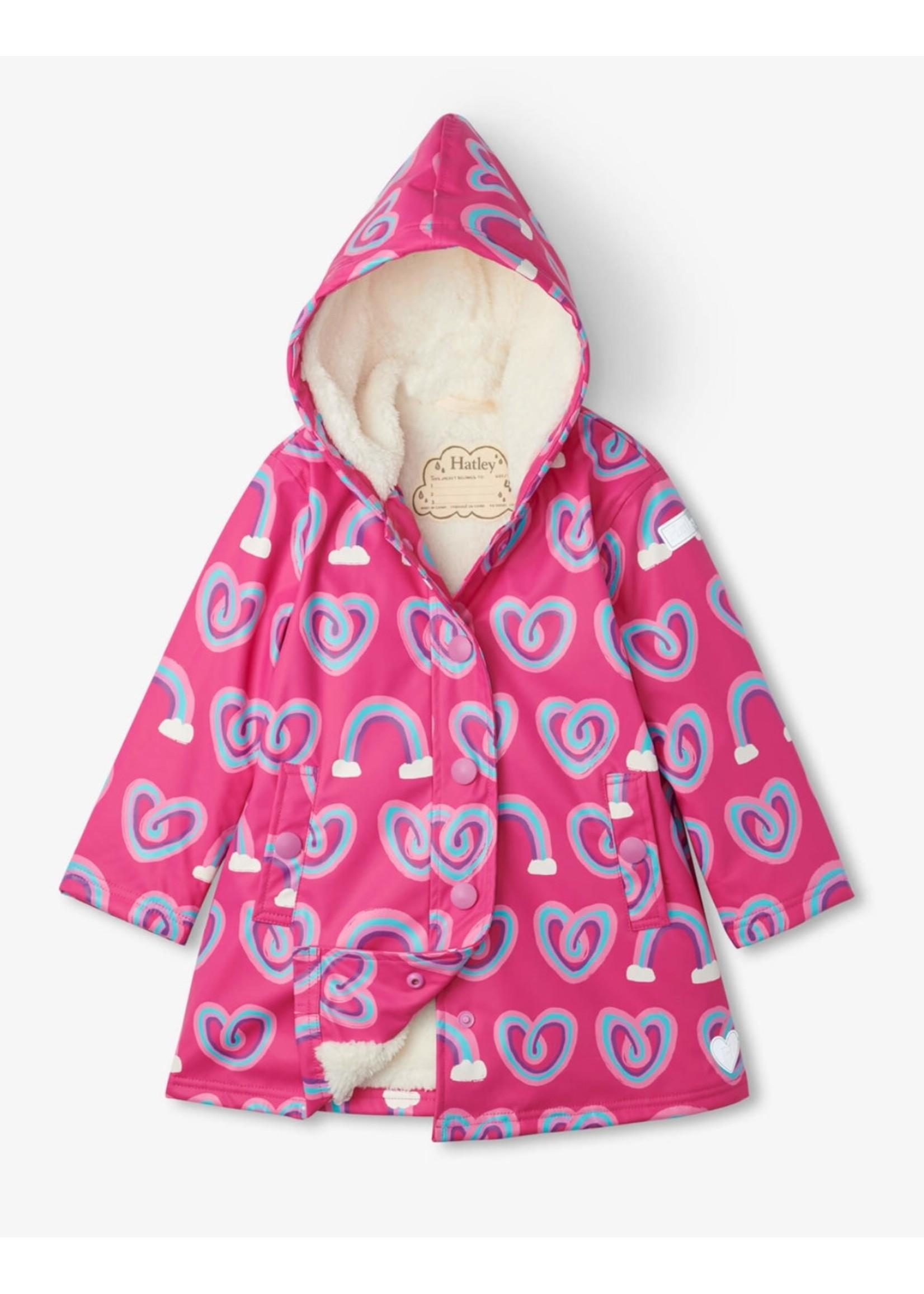 Hatley Hatley, Twisty Rainbow Hearts Sherpa Lined Splash Jacket