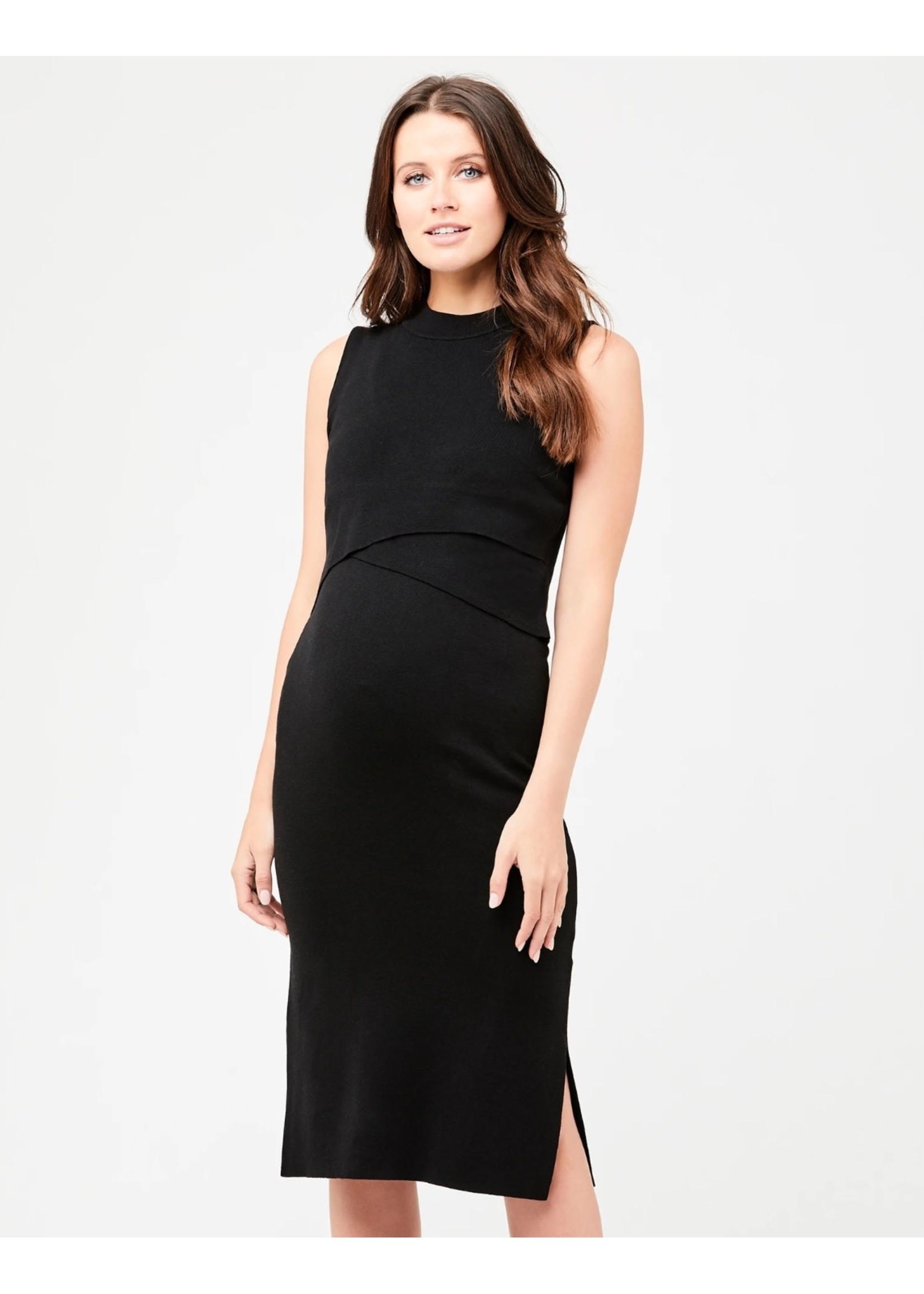Ripe Maternity RIpe Maternity, Layered Knit Nursing Dress in Black