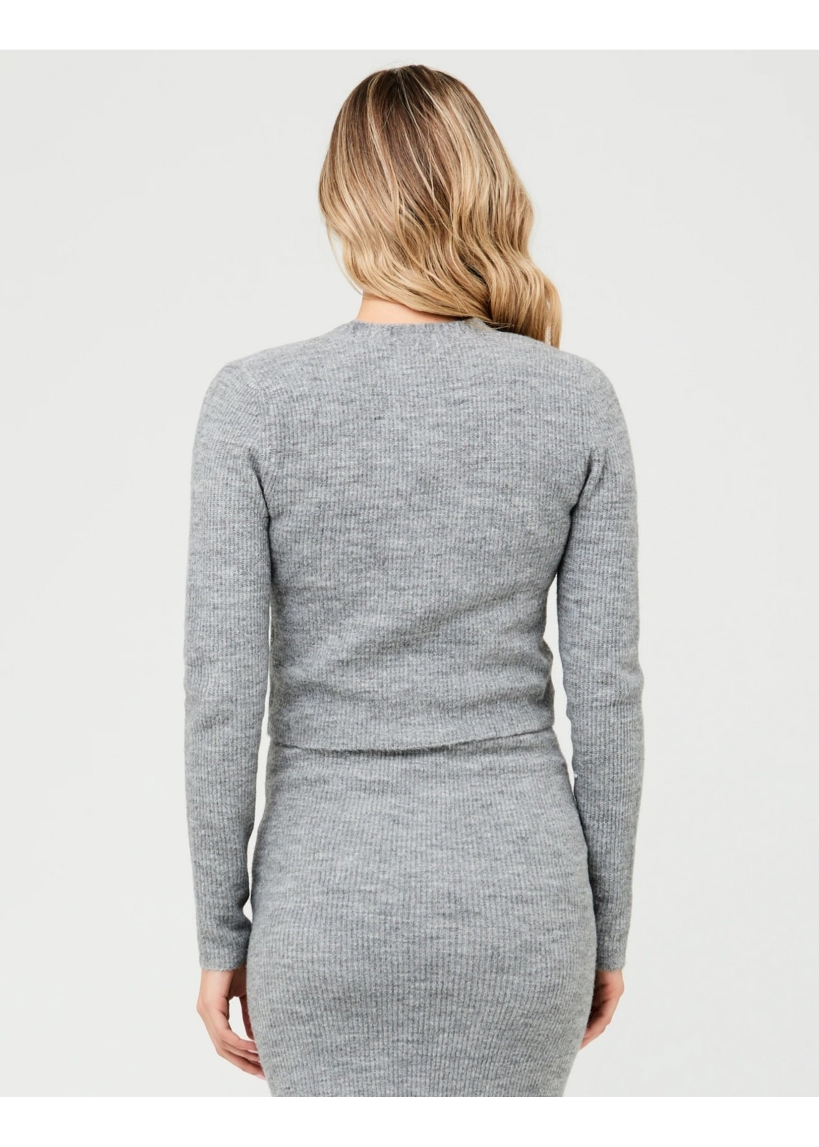 Ripe Maternity Ripe Maternity, Trixie Crop Cardigan in Charcoal Marle