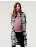 Supermom Supermom, Long Sleeve Flannel in Black/Grey Plaid