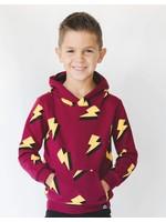 Whistle & Flute Whistle & Flute, Lightning Bolt Allover Print Red Hooded Sweatshirt