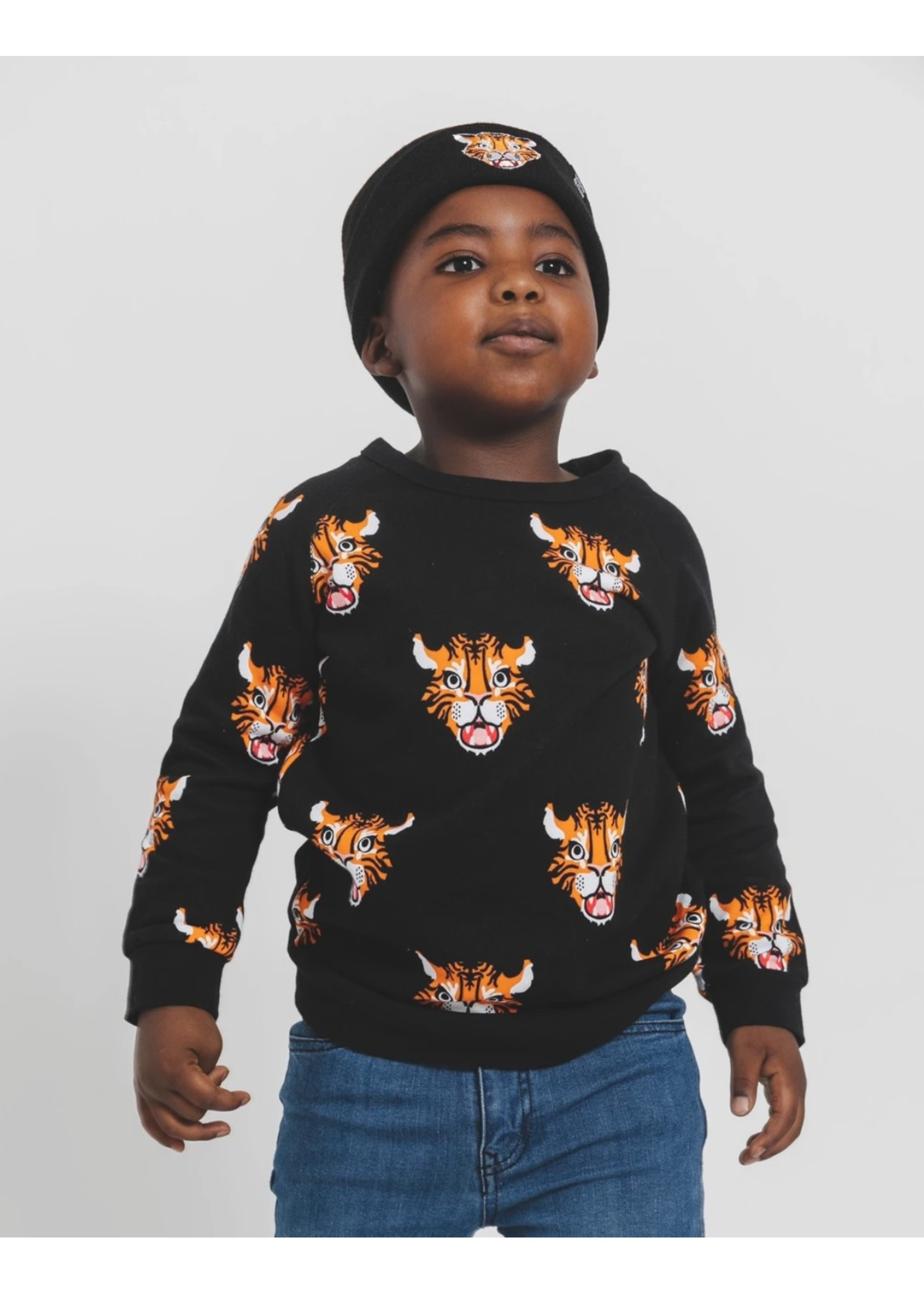 Whistle & Flute Whistle & Flute, Tiger Allover Print Black Sweatshirt