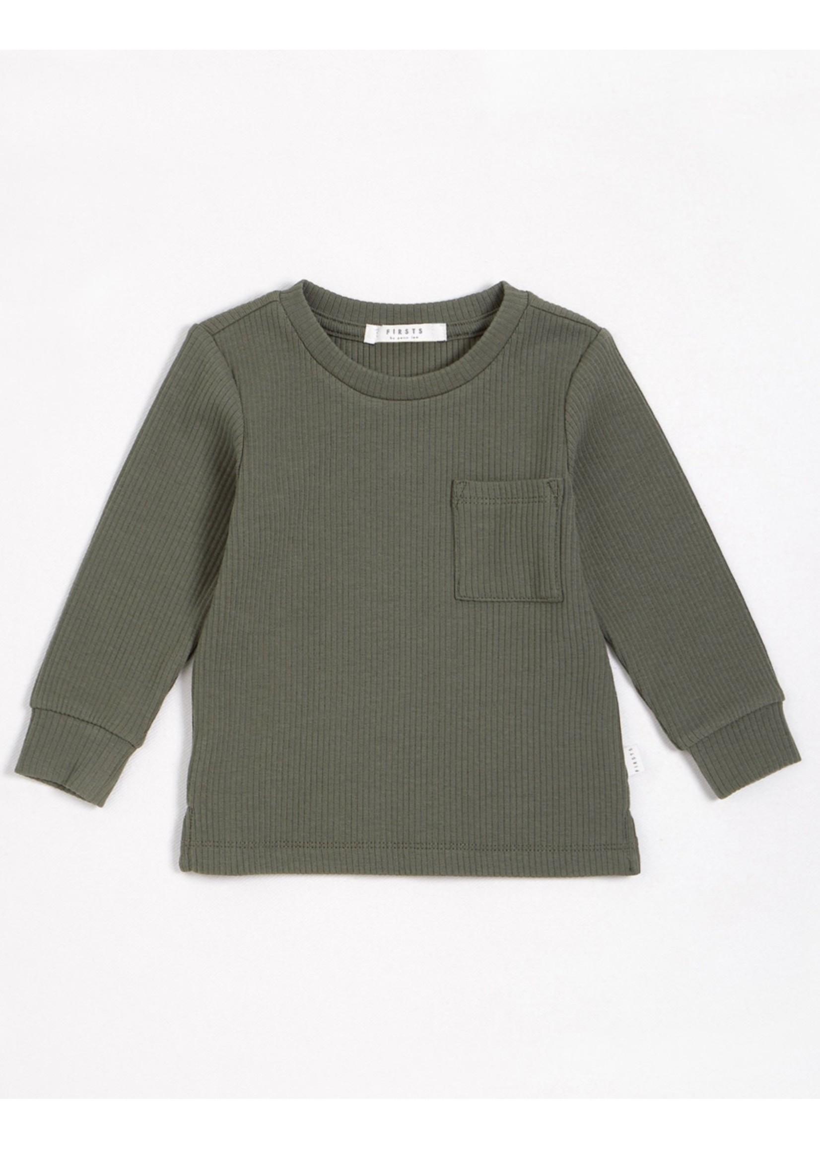 Petit Lem Petit Lem, Olive Modal Rib Long-Sleeve T-Shirt (NB-24M)