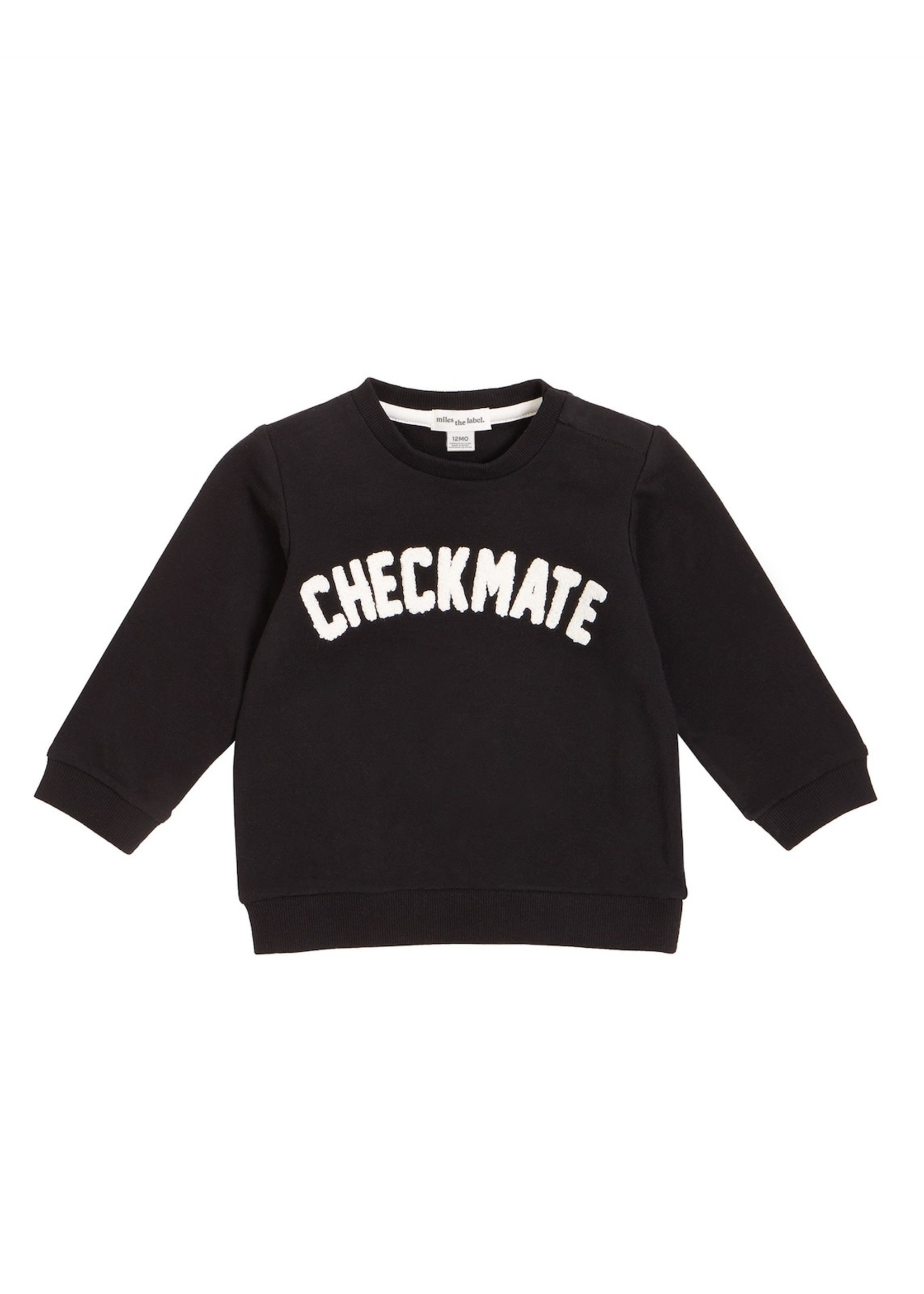 Miles Baby Miles, Chenille CHECKMATE Baby Sweatshirt in Black