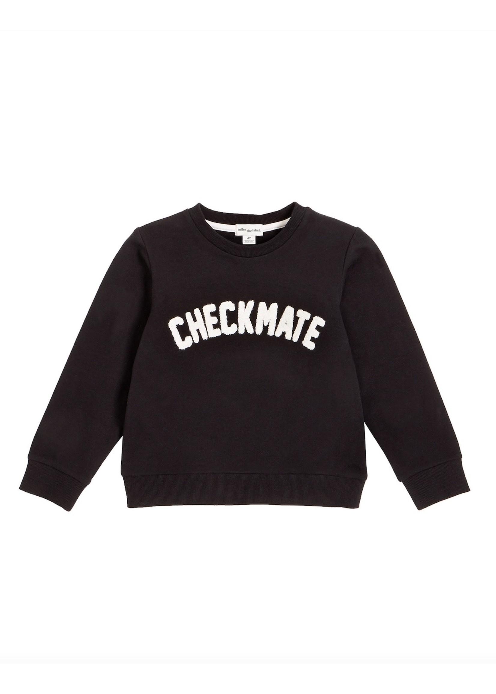 Miles Baby Miles, Chenille CHECKMATE Black Sweatshirt