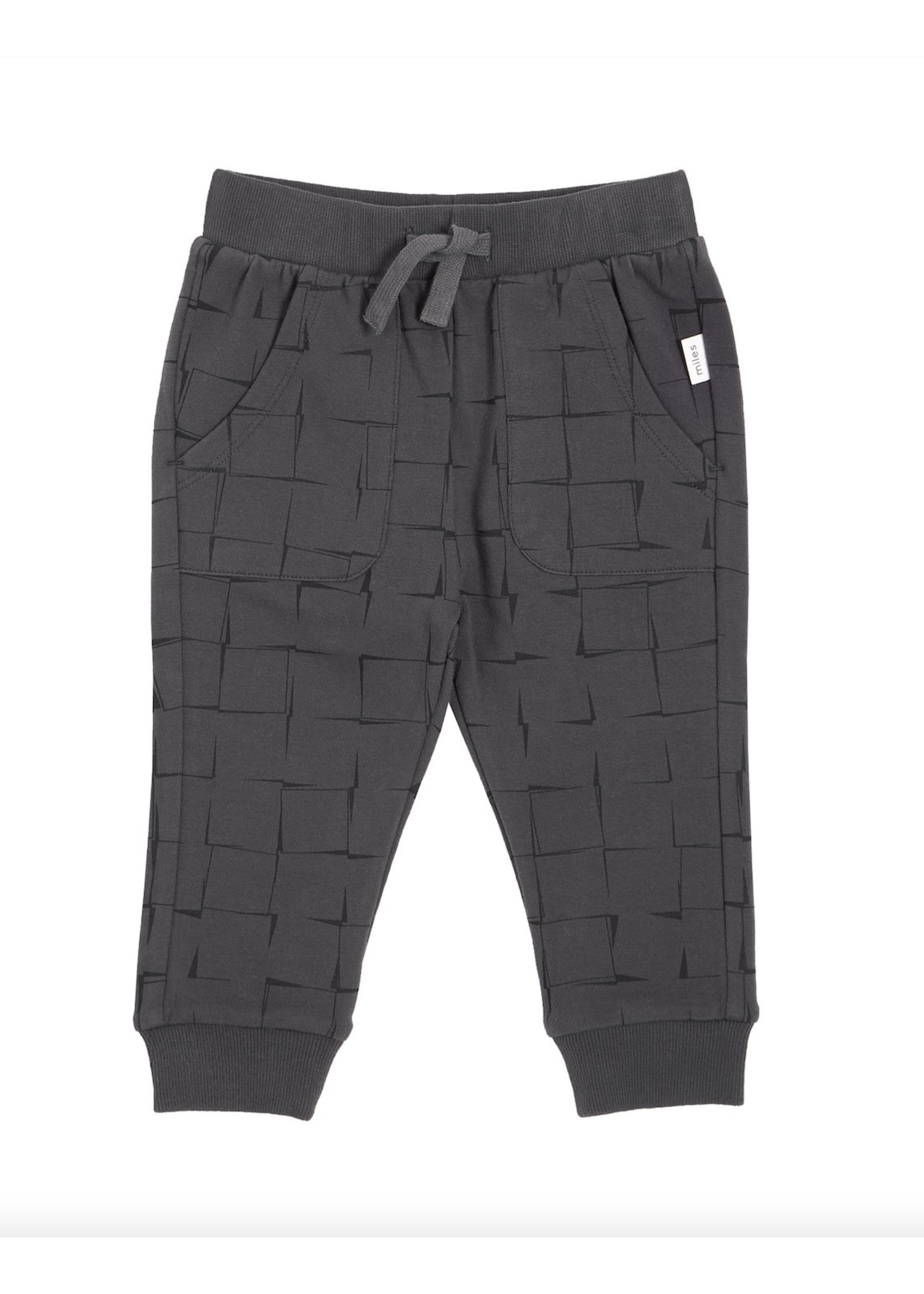 Miles Baby Miles, Grid Print on Charcoal Baby Jogger