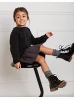 Miles Baby Miles Black Sweatshirt Dress with Grid Print Skirt