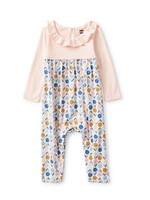 Tea Collection Tea Collection, Blush Blooms Ruffle Collar Baby Romper