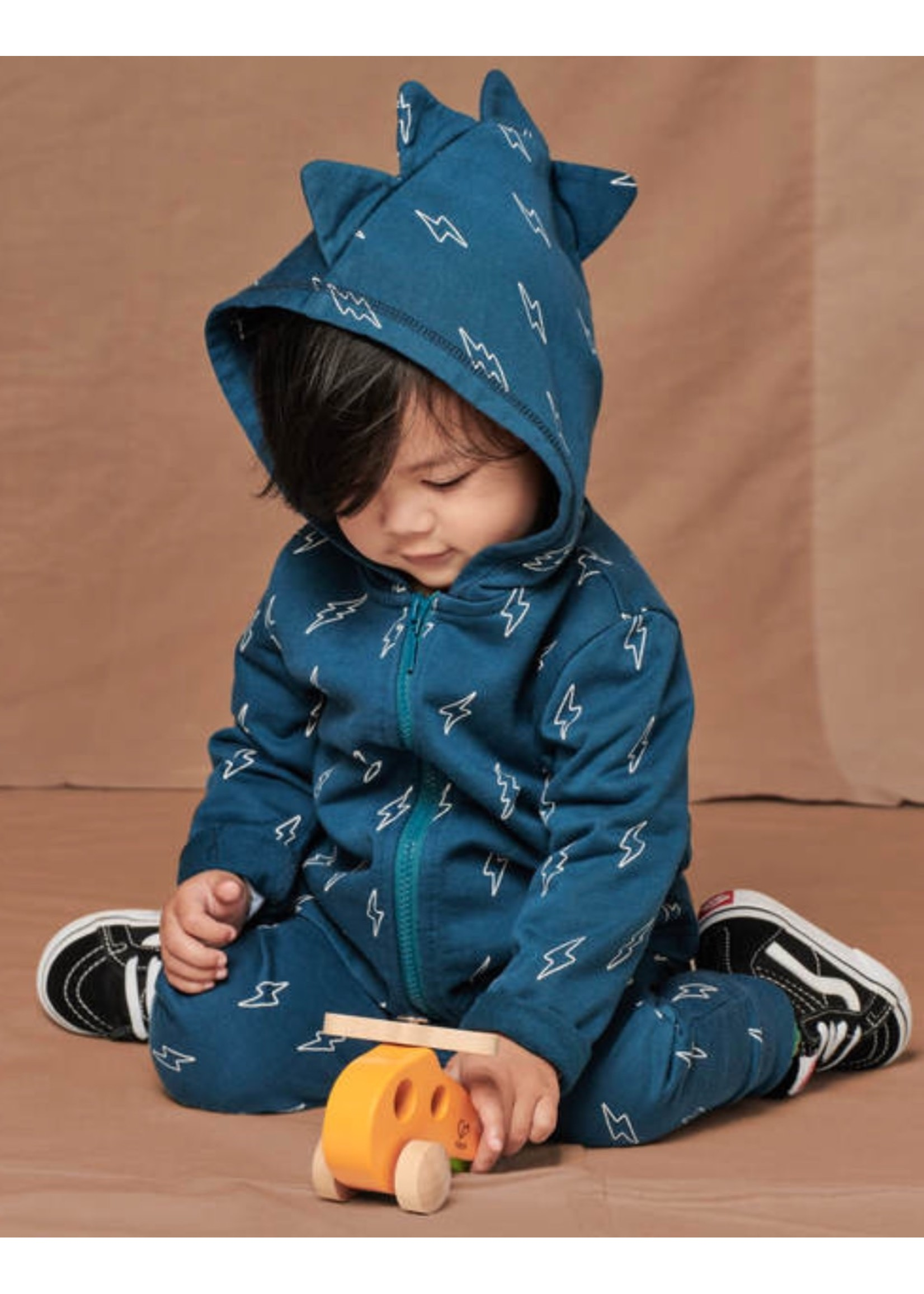 Tea Collection Tea Collection, Spike Out Baby Hoodie in Blue Lightning Bolts