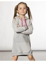 Deux Par Deux Deux Par Deux, Hooded Quilted Dress With Pocket Light Grey Mix
