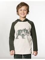 Deux Par Deux Deux Par Deux Rhinoceros Printed Hooded Jersey T-Shirt