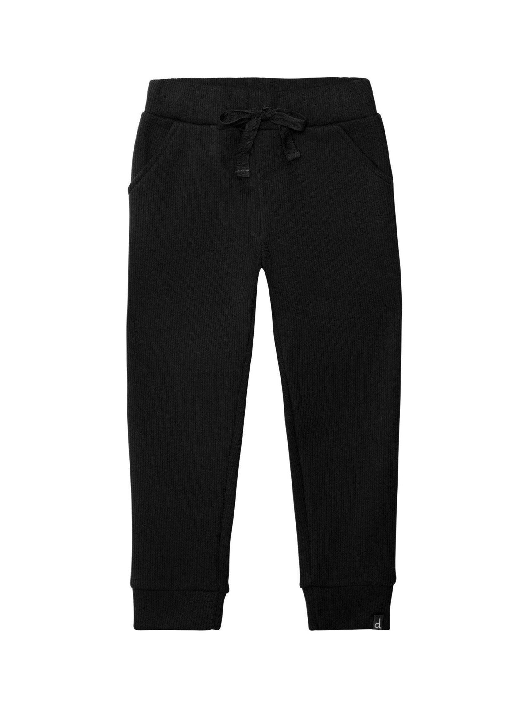 Deux Par Deux Deux Par Deux Super Comfy Black Ribbed Lounge Pants