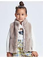 Mayoral Mayoral,  Taupe Faux Fur Vest