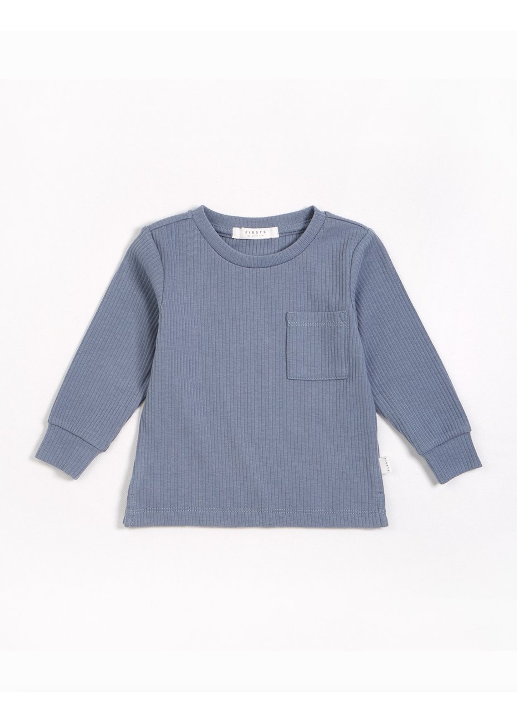Petit Lem Petit Lem, Blue Dusk Modal Rib Long-Sleeve T-Shirt (NB-24M)