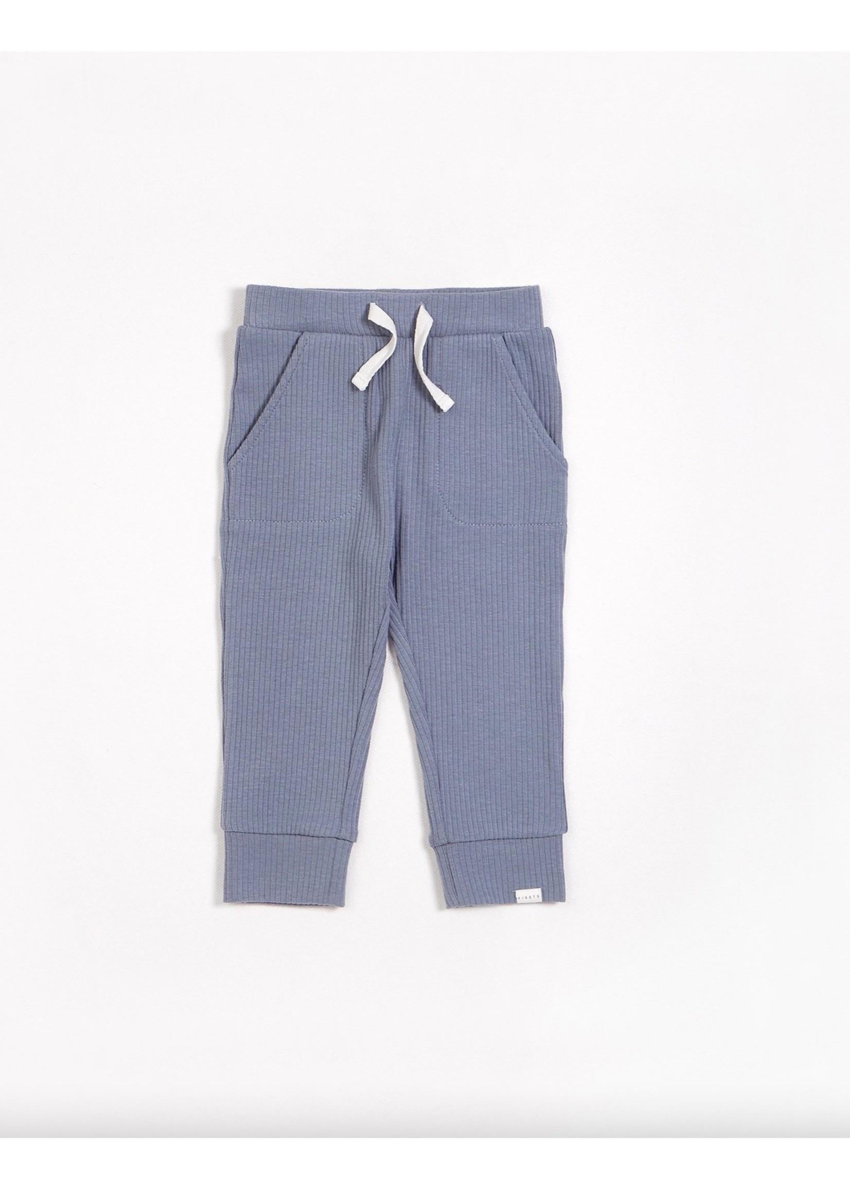 Petit Lem Petit Lem, Blue Dusk Modal Rib Pants (NB-24M)