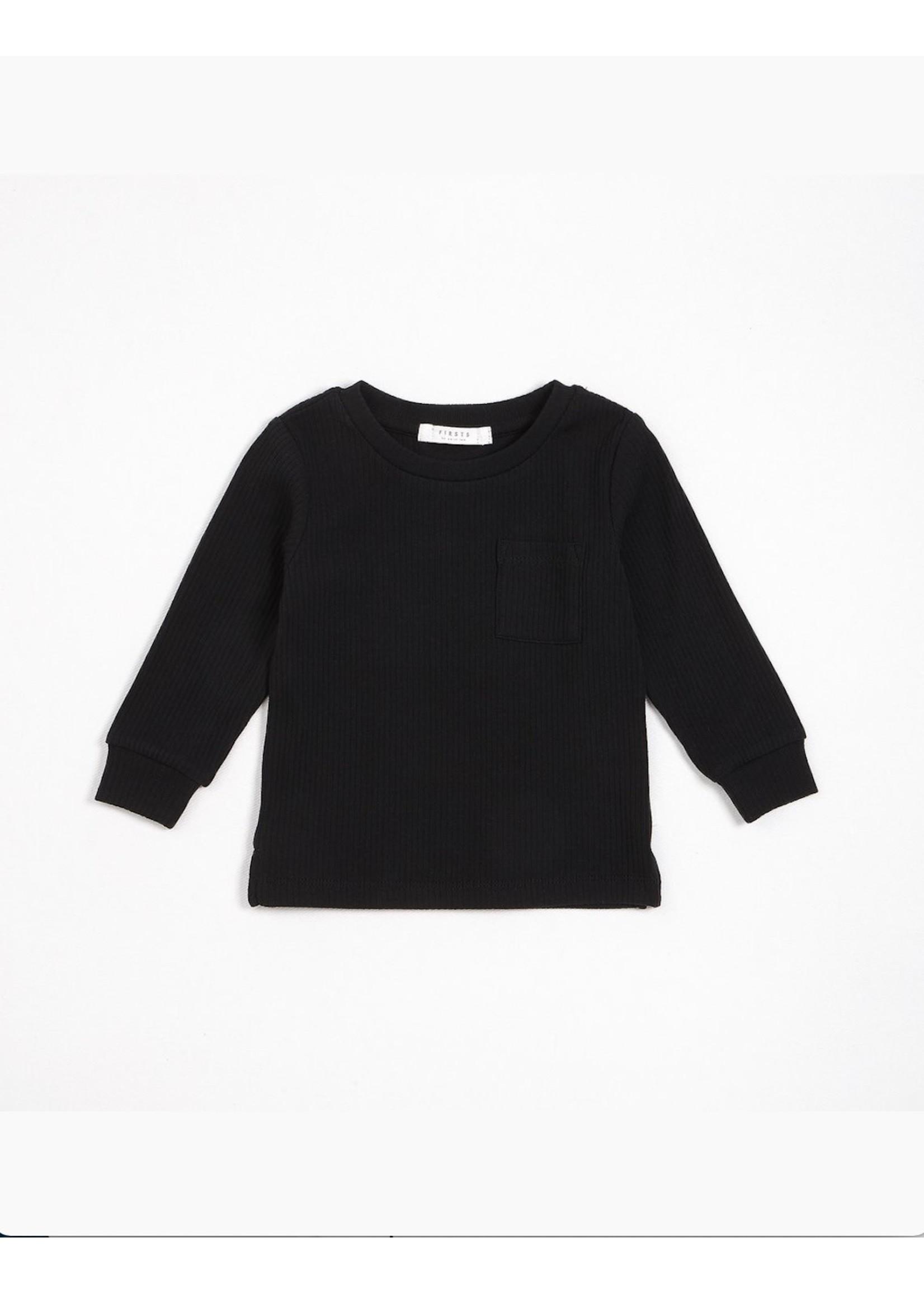Petit Lem Petit Lem, Caviar Black Modal Rib Long-Sleeve T-Shirt (NB-24M)