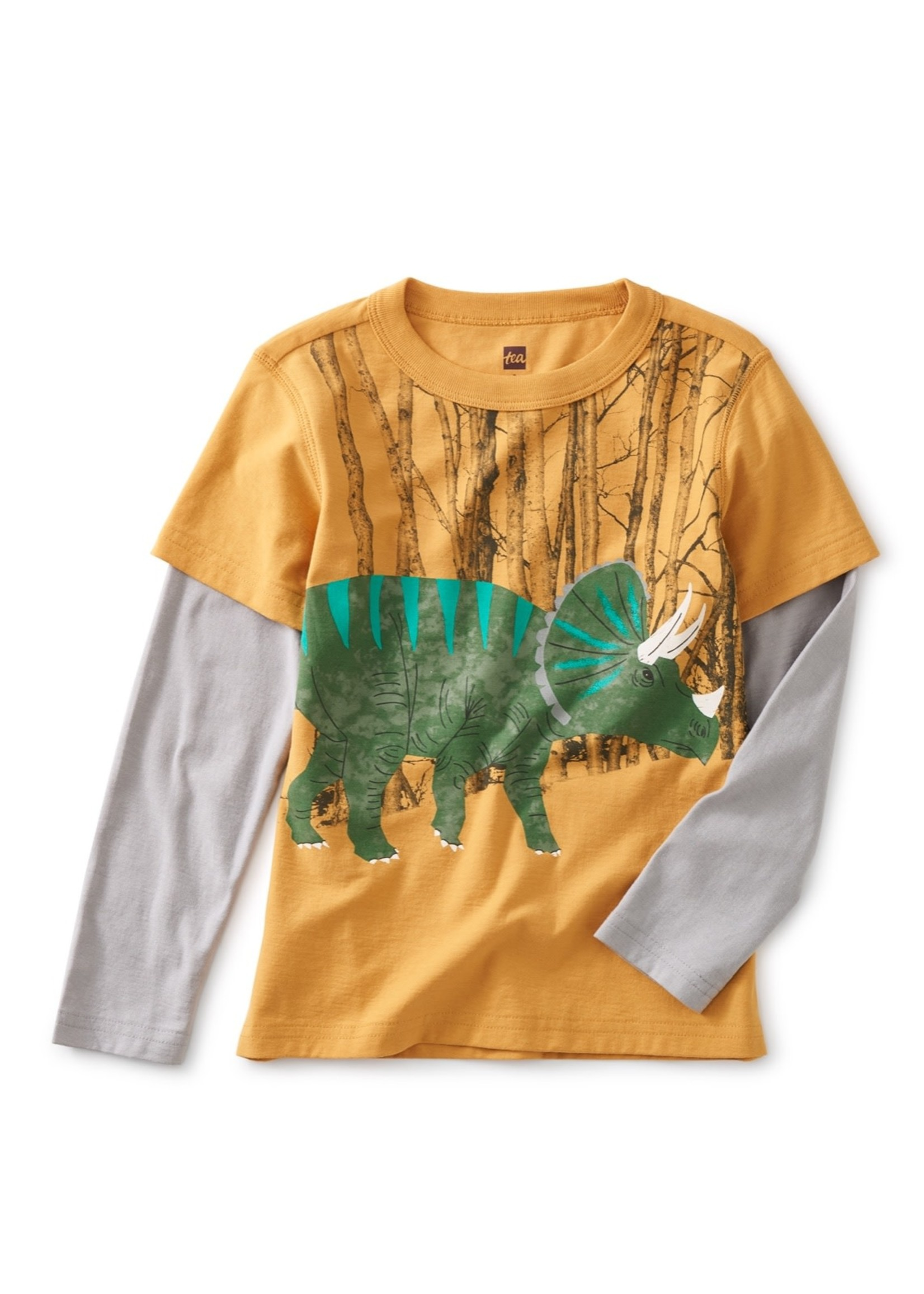 Tea Collection Tea Collection, Triceratop Layered Graphic Tee In Peanut
