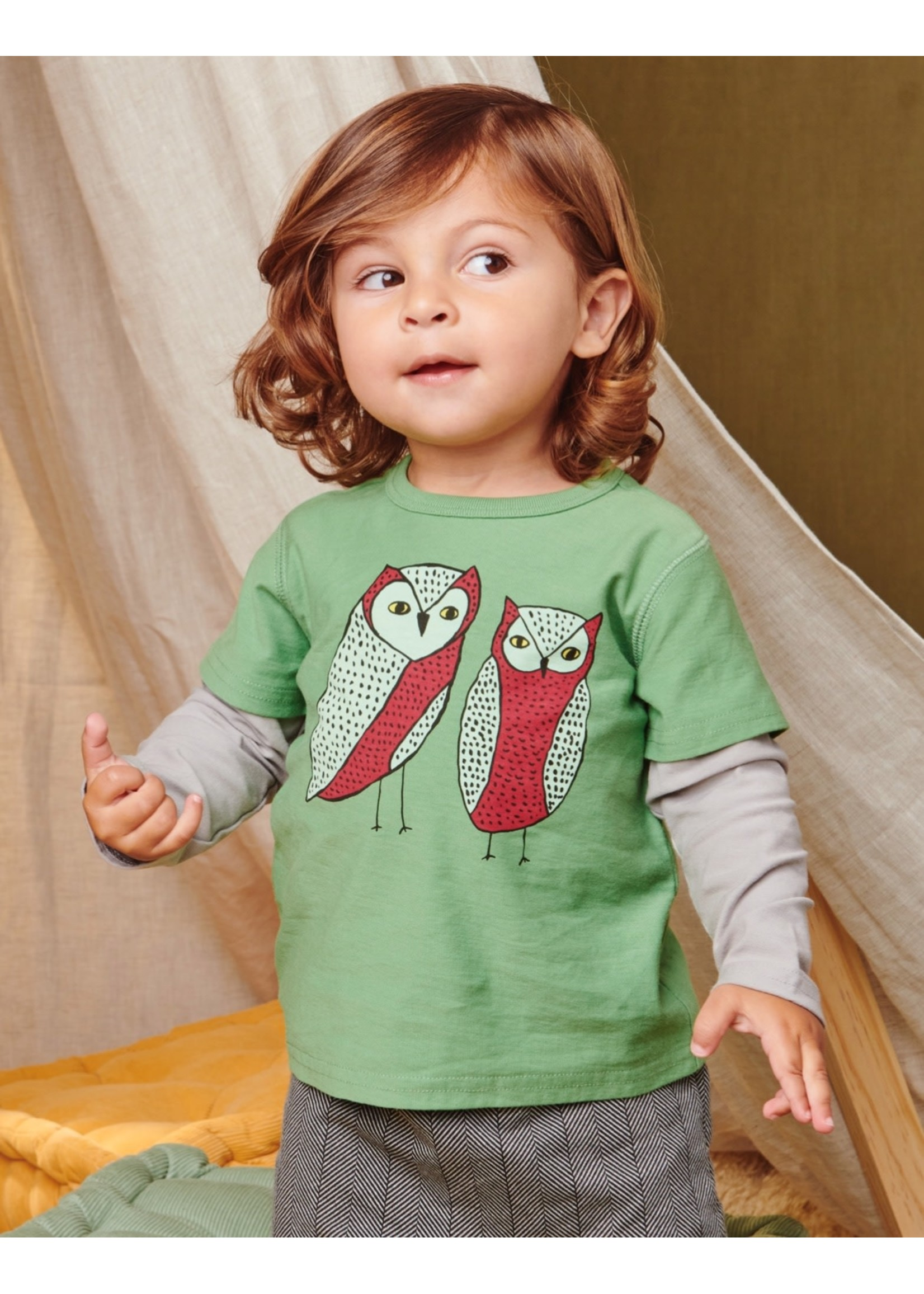 Tea Collection Tea Collection, Owl Friends Baby Graphic Tee in English Ivy