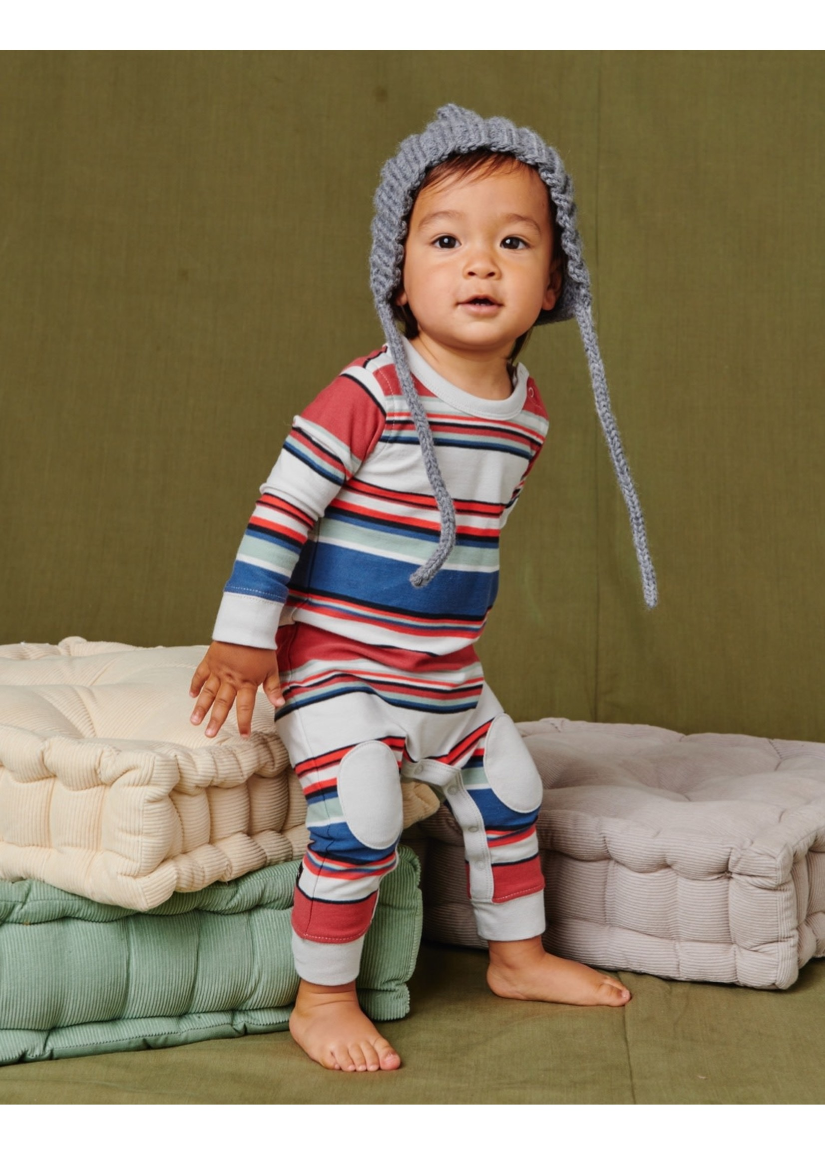 Tea Collection Tea Collection, Earth Red Stripe Knee Patch Baby Romper
