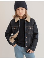 Miles the Label Miles The Label, Dark Blue Recycled Sherpa Lined Eco-Denim Jacket