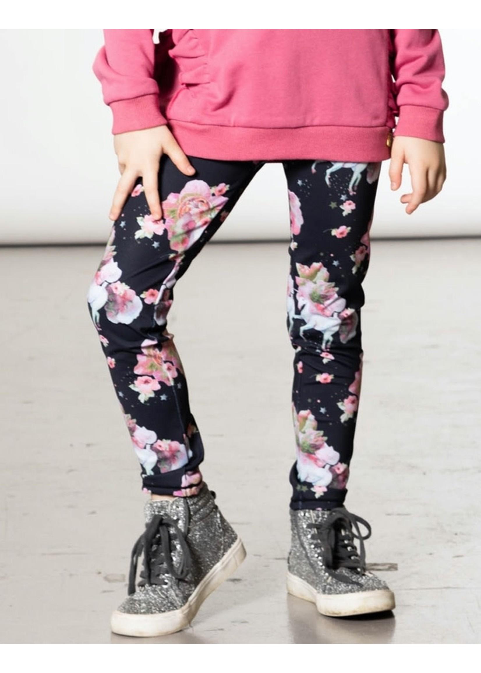 Deux Par Deux Deux Par Deux, Unicorn Printed Stretch Legging Black