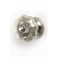 Knob Glass Ant. Silver