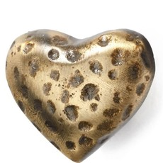 Knob Hammered Iron Heart Gold