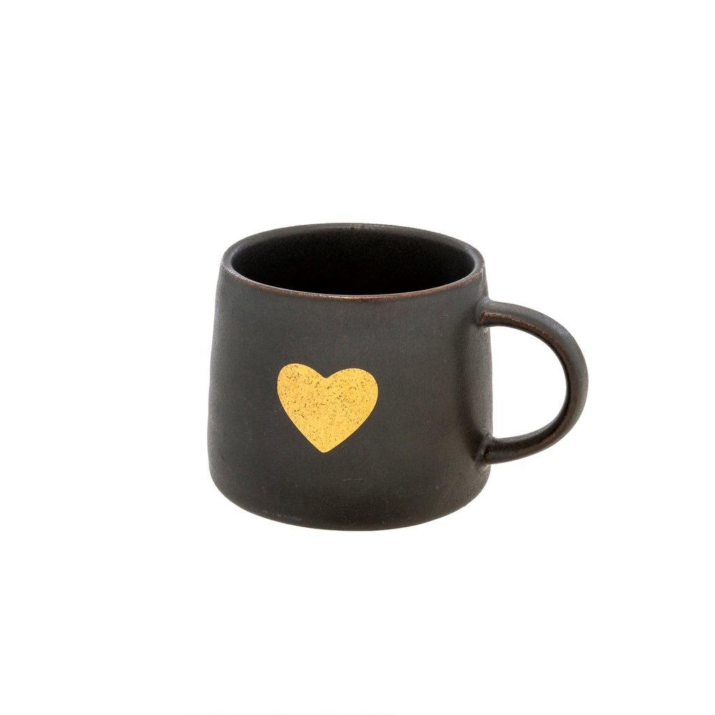 Gold Heart Mug Black