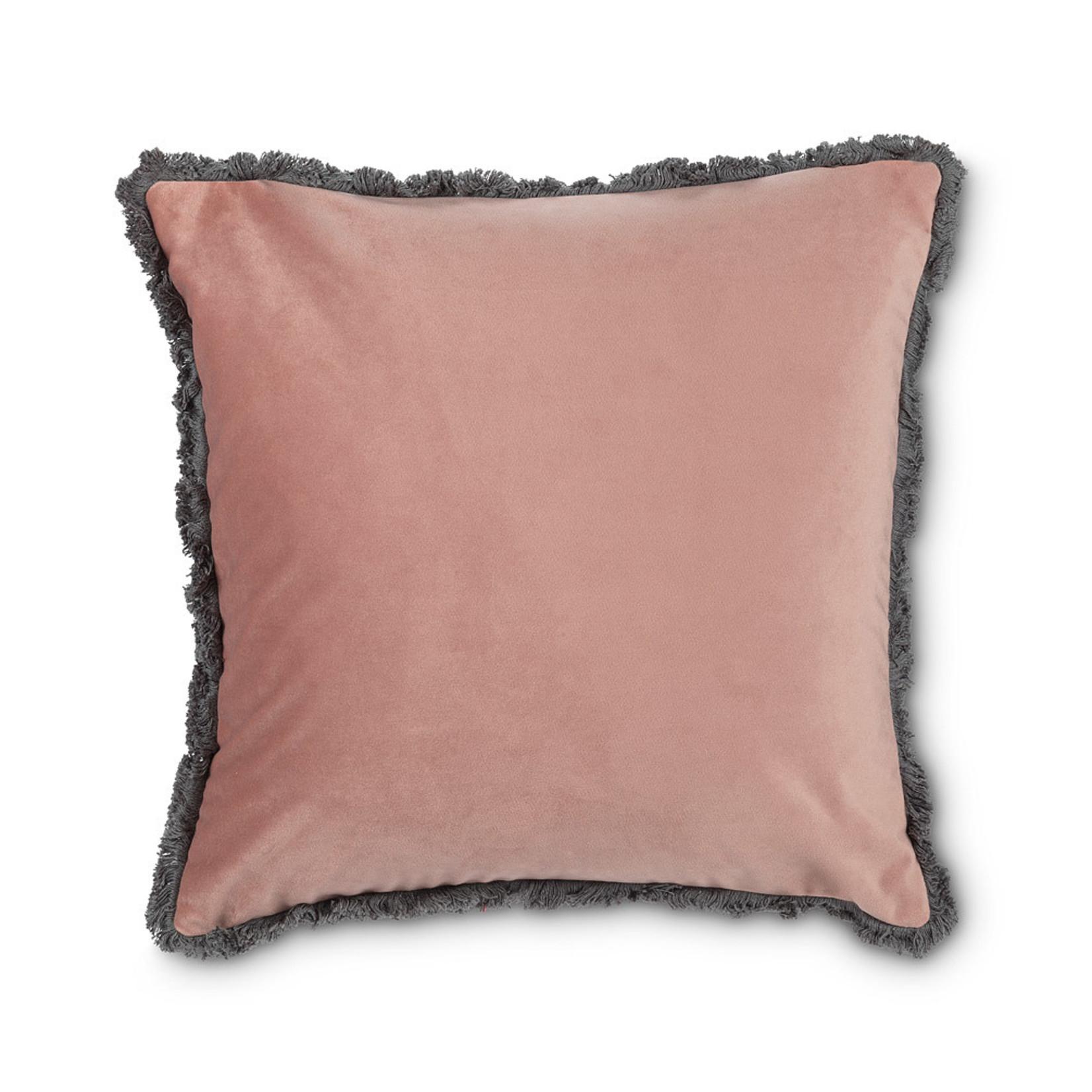 Abbott Collection Velvet Pillow w/Fringe Rose
