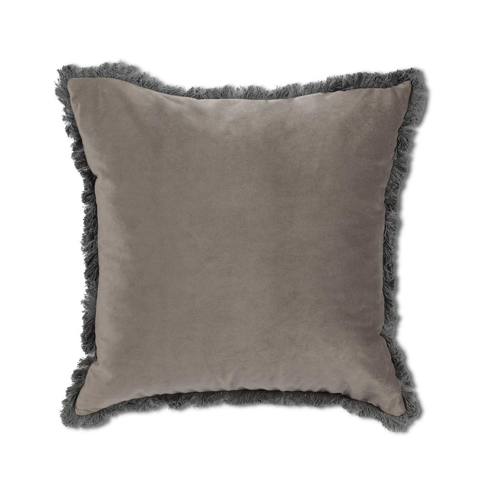 Abbott Collection Velvet Pillow w/Fringe Grey