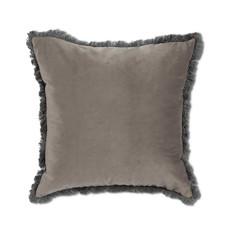 Velvet Pillow w/Fringe Grey