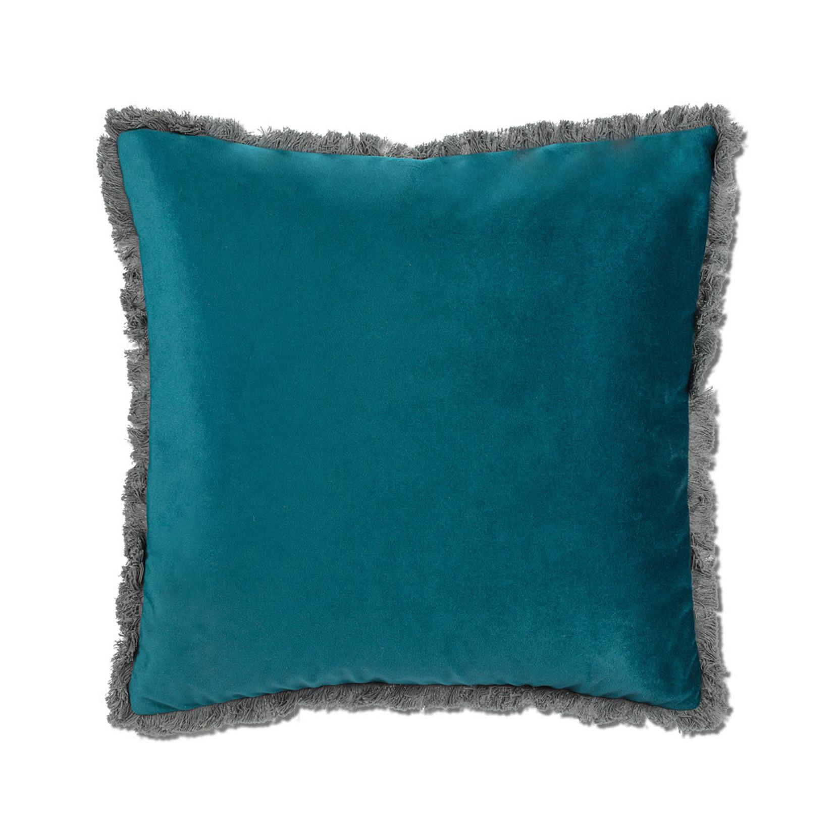 Abbott Collection Velvet Pillow w/Fringe Dark Teal