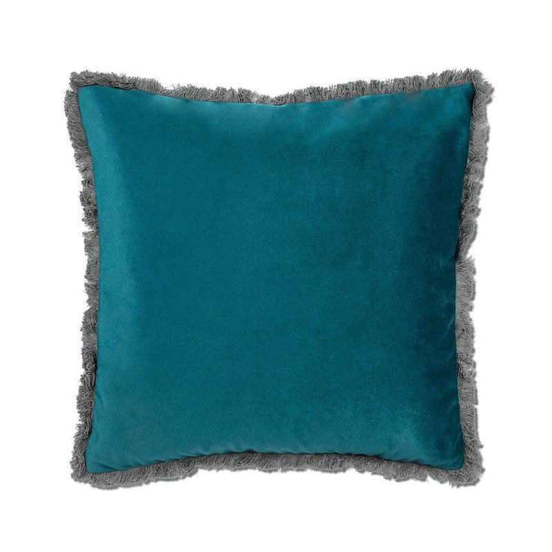 Velvet Pillow w/Fringe Dark Teal