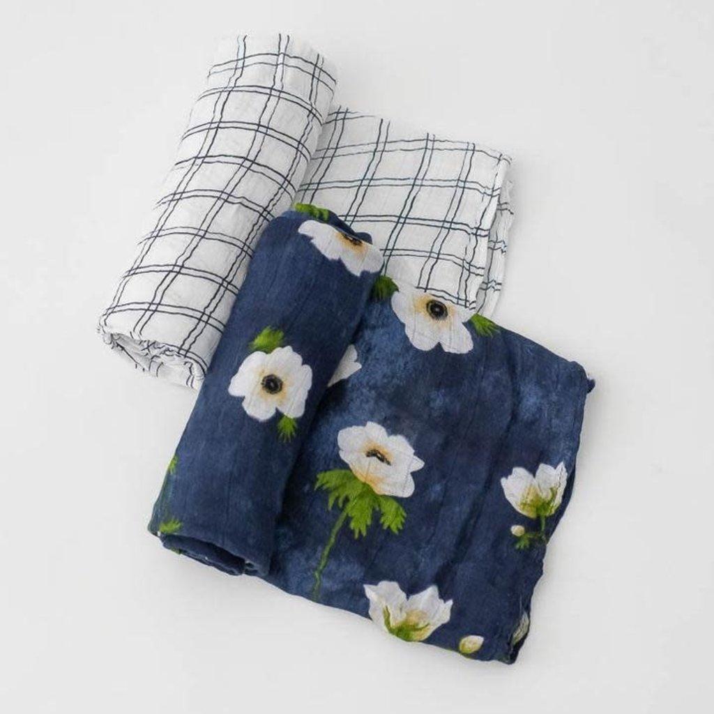 Little Unicorn - White Anemone Swaddle Blanket Set