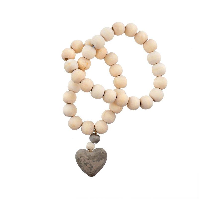 Wooden Heart Prayer Beads White/Natural