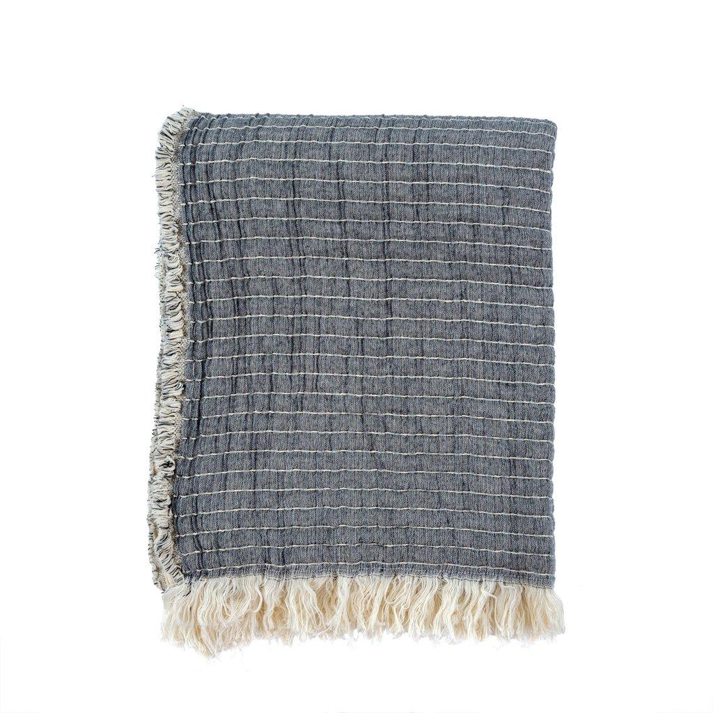Kantha-Stitch Throw   Grey