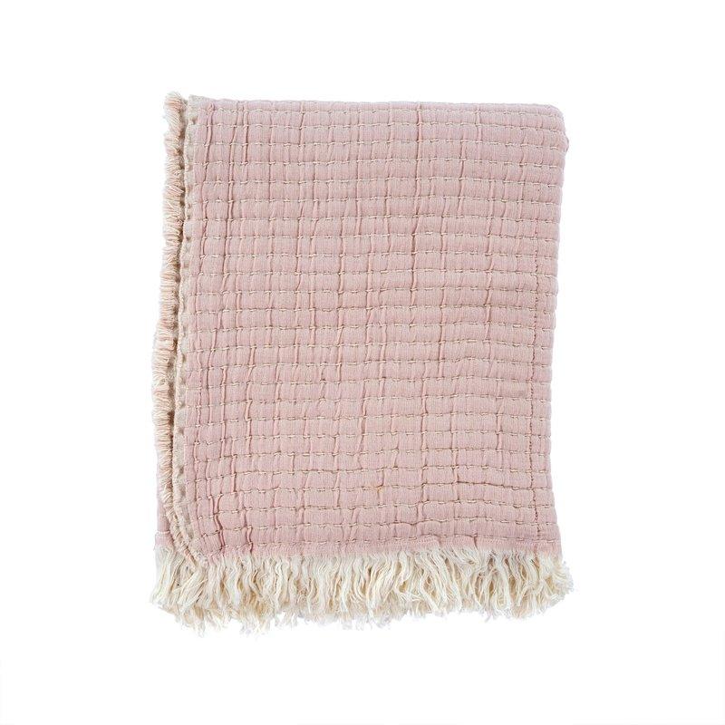 Kantha-Stitch Throw   Dusty Blush