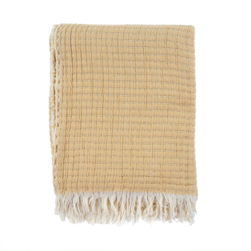 Kantha-Stitch Throw | Wheat