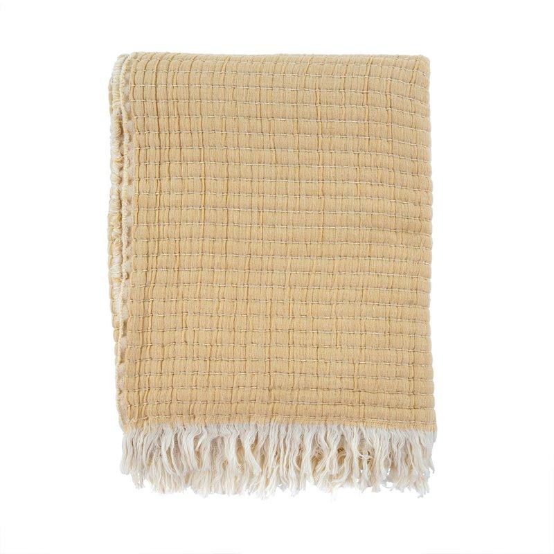 Kantha-Stitch Throw   Wheat