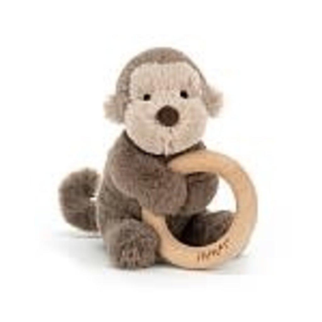 JellyCat JellyCat Shooshu Monkey Wooden Ring Toy