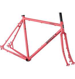 """Surly Surly Straggler (frame only plus headset, fork pre-cut to 3.5"""" above headset) pink, 56 cm"""