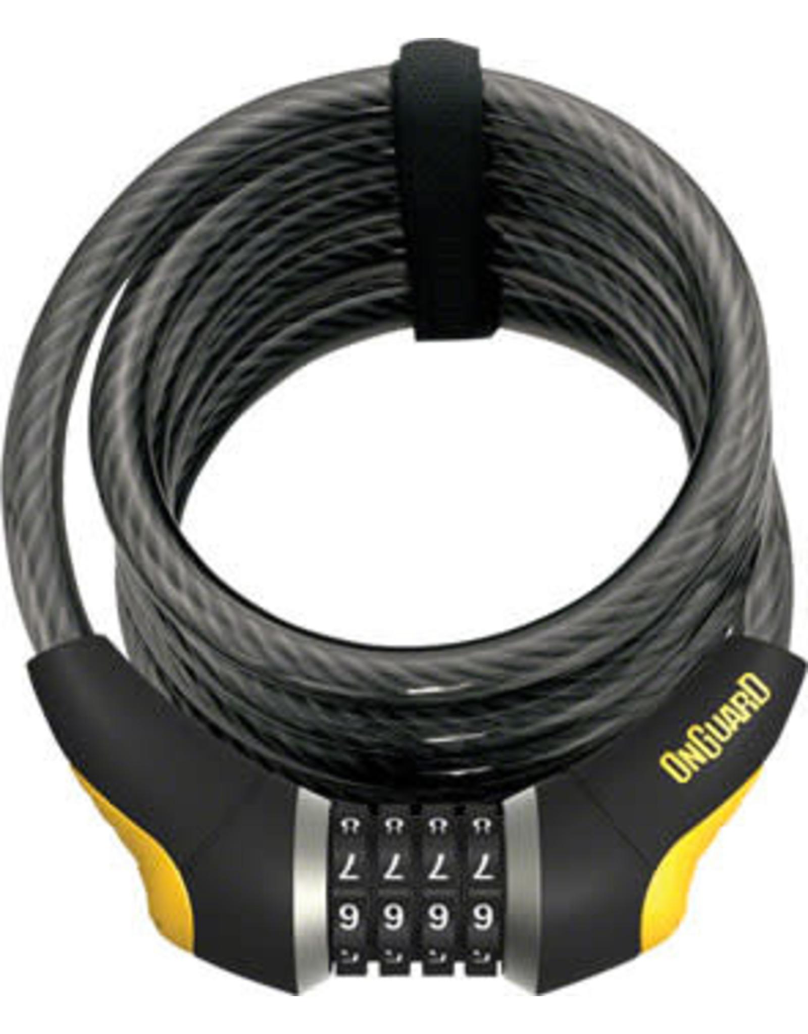 on guard OnGuard Doberman 8031 Combo Cable Lock: 6' x 12mm - Gray/Black/Yellow