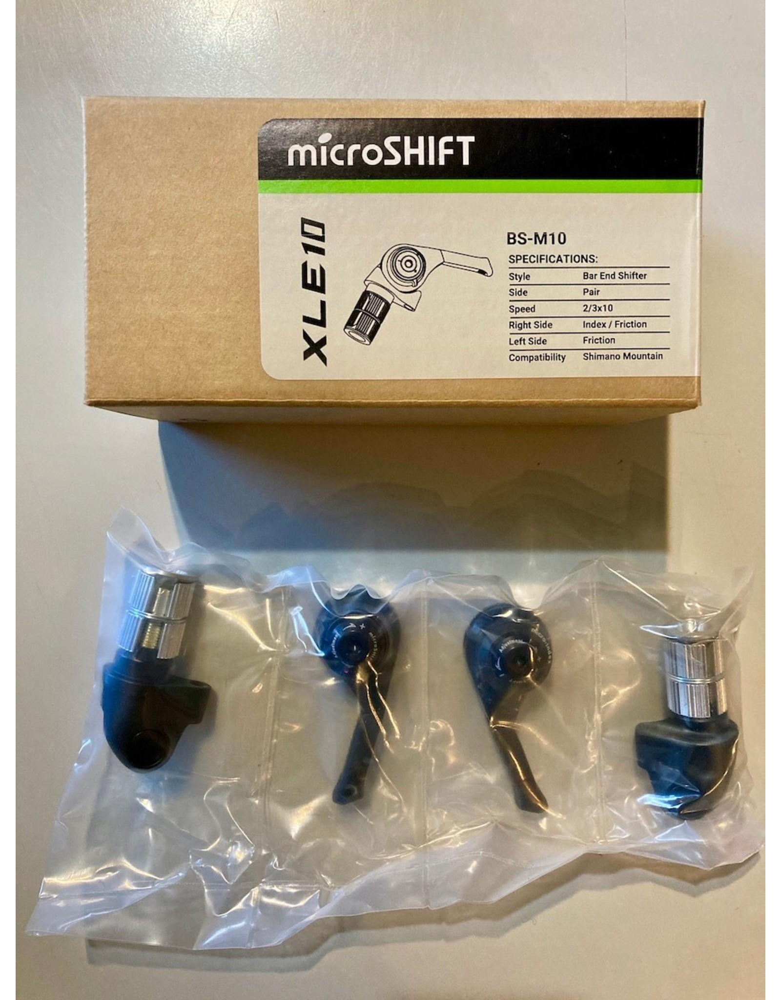 Microshift microSHIFT Bar End Shifter Set, 10-Speed Mountain, Double/Triple, Shimano Compatible, Black