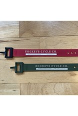 """Voile Voile Straps 15"""" Olive Green w/ Nylon Buckle - Sockeye Cycle Logo"""