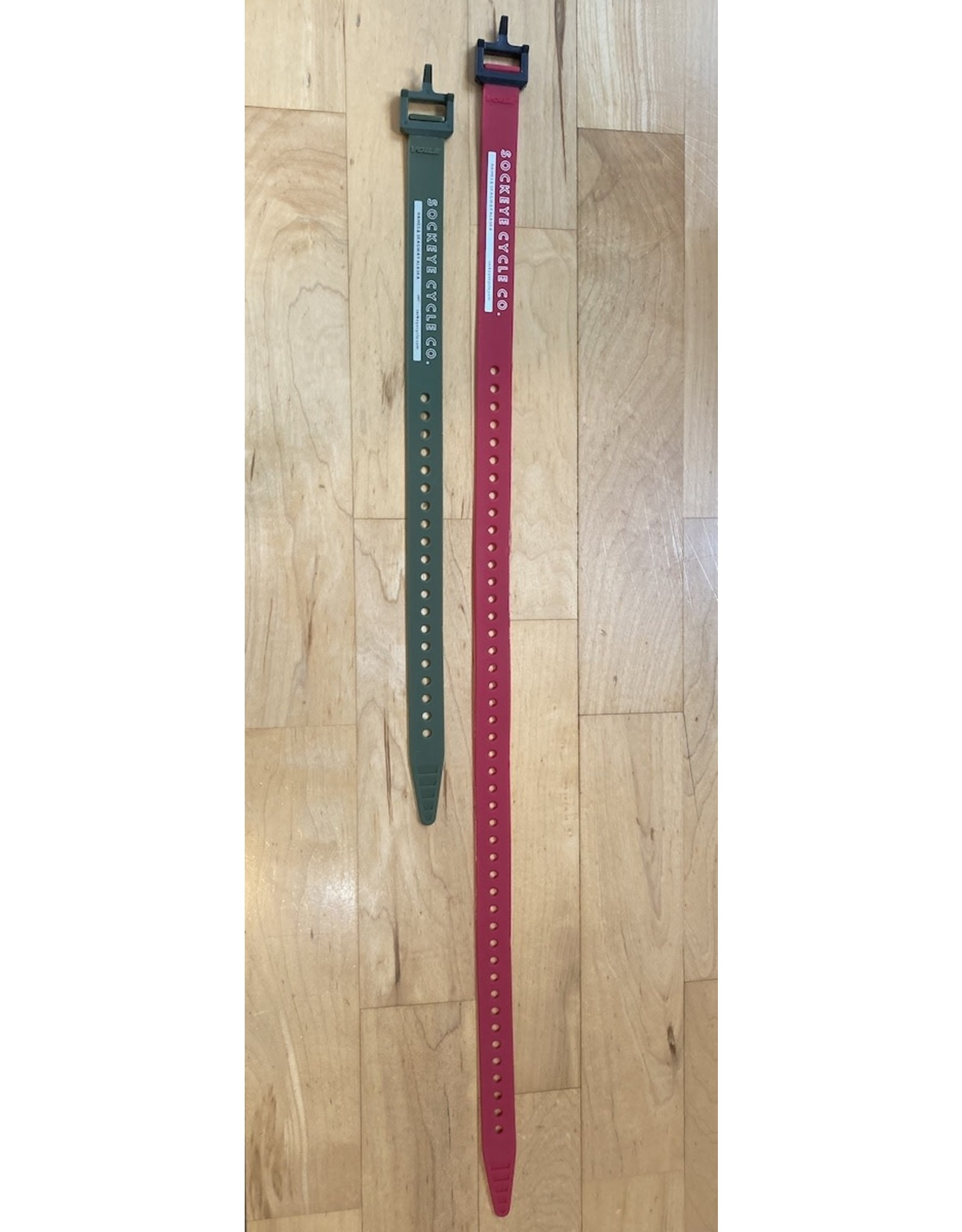 """Voile Voile Straps 25"""" Red w/ Nylon Buckle - Sockeye Cycle Logo"""