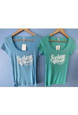 Goodtimes Womens Mini Rib Scoop Neck Baseball Logo T-Shirt