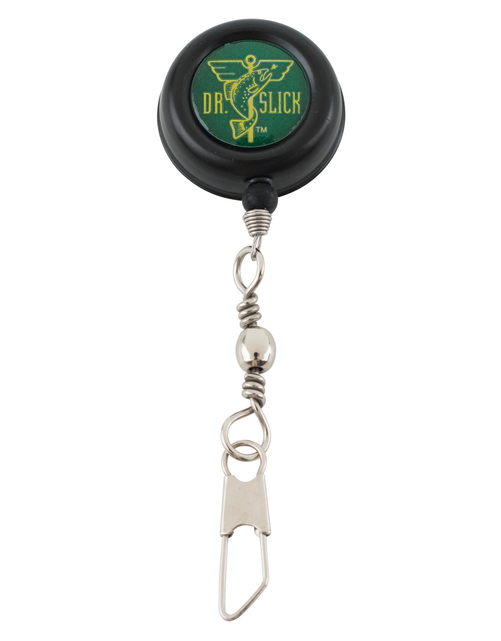 DR. SLICK Dr. Slick Pin-On-Reel, Black, Steel Cord, Swivel Ring