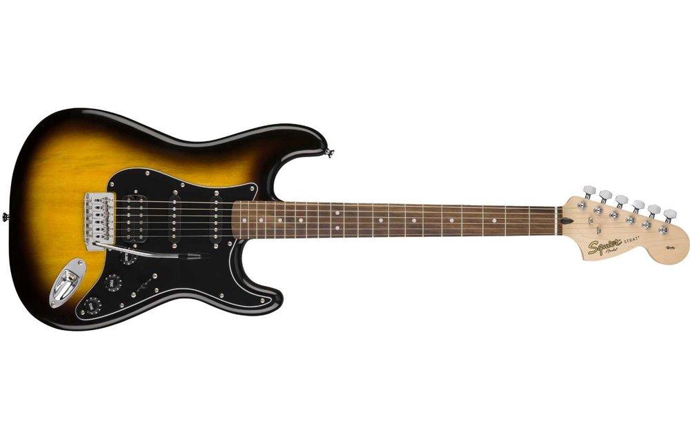 Squier Affinity Series Stratocaster HSS Pack, Laurel Fingerboard, Brown Sunburst w/ Gig Bag & Frontman 15G